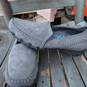 NWOT Skechers Grey Suede Slip On Shoes Size 8.5M